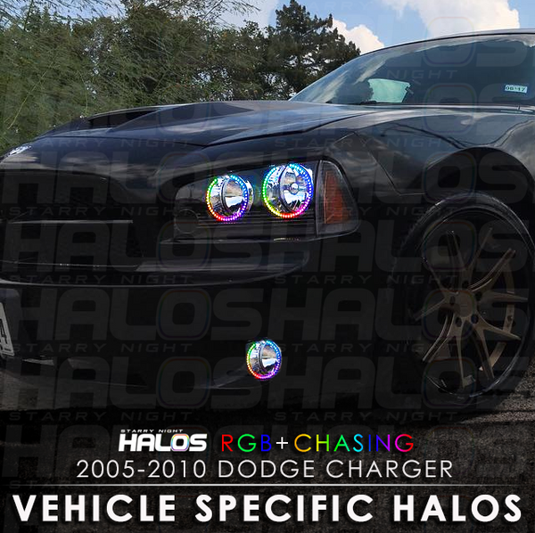 2005-2010 Dodge Charger RGB + Chasing Starry Night Halo Kit (4 Halos)