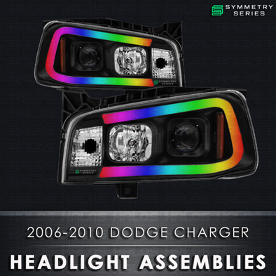 2005-2010 Dodge Charger Starry Night Halos Chasing Pre-Built Headlights