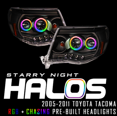 2005-2011 Toyota Tacoma Starry Night Halos Quad RGB+Chasing Pre-Built Headlights