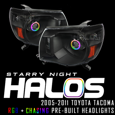 2005-2011 Toyota Tacoma Starry Night Halos RGB+Chasing Pre-Built Headlights