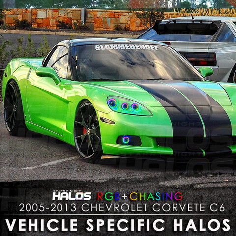 2005-2013 Chevrolet Corvette C6 RGB + Chasing Starry Night Halo Kit (6 Halos)