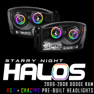 2006-2008 Dodge Ram Starry Night Halos RGB+Chasing Pre-Built Headlights
