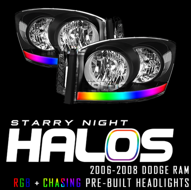 2006-2008 Dodge Ram Starry Night Halos RGB+Chasing Acrylic Pre-Built Headlights