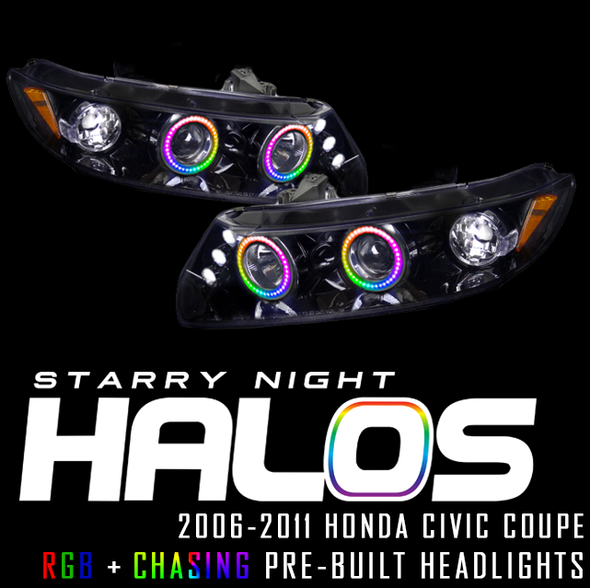 2006-2011 Honda Civic Coupe Starry Night Halos RGB+Chasing Pre-Built Headlights