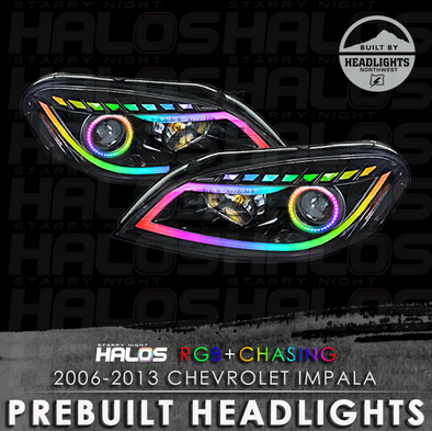 2006-2013 Chevrolet Impala Starry Night Halos RGB+Chasing Pre-Built Headlights