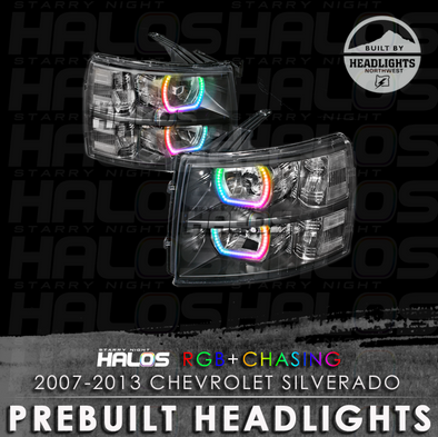 2007-2013 Chevrolet Silverado Starry Night Halos Chasing Pre-Built Headlights