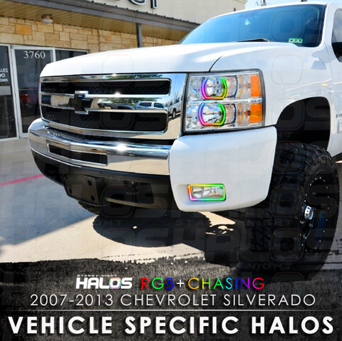2007-2013 Chevrolet Silverado RGB + Chasing Starry Night Halo Kit (4 Halos)