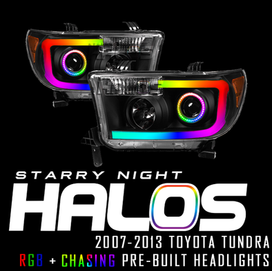 2007-2013 Toyota Tundra Starry Night Halos RGB+Chasing Pre-Built Headlights