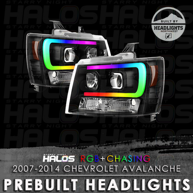 2007-2014 Chevrolet Avalanche Starry Night Halos Chasing Pre-Built Headlights