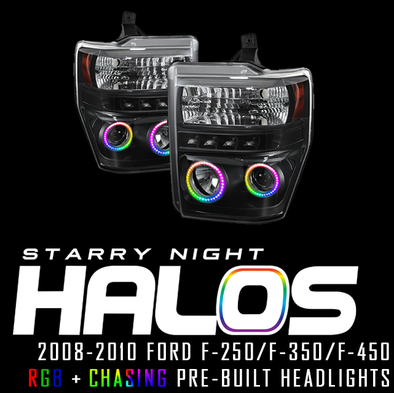 2008-2010 Ford F-250 F-350 F-450 Starry Night Halos RGB+Chasing Pre-Built Headlights