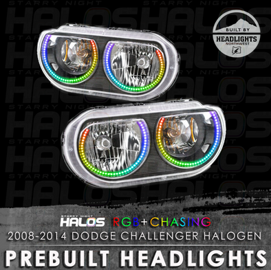 2008-2014 Dodge Challenger Halogen Starry Night Halos Prebuilt Headlights