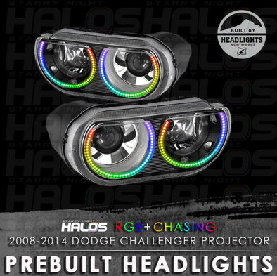 2008-2014 Dodge Challenger Projector Starry Night Halos Prebuilt Headlights