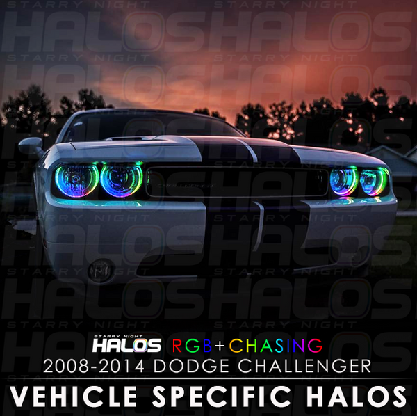 2008-2014 Dodge Challenger RGB + Chasing Starry Night Halo Kit (4 Halos)