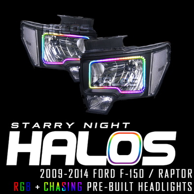 2009-2014 Ford F-150 Starry Night Halos RGB+Chasing Pre-Built Headlights