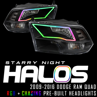2009-2016 Dodge Ram Quad RGB+Chasing Pre-Built Headlights Coupe Starry Night Halos RGB+Chasing Pre-Built Headlights