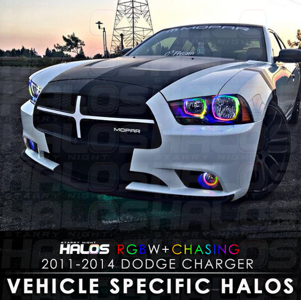 2011-2014 Dodge Charger RGBW + Chasing Starry Night Halo Kit (4 Halos)