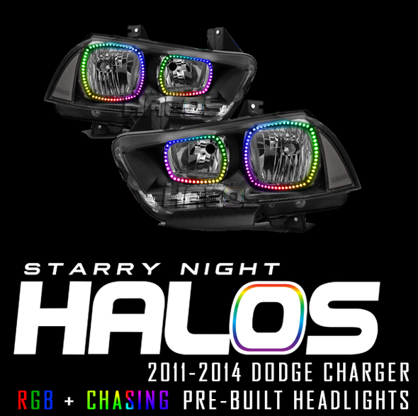 2011-2014 Dodge Charger Starry Night Halos RGB + Chasing Pre-Built Headlights