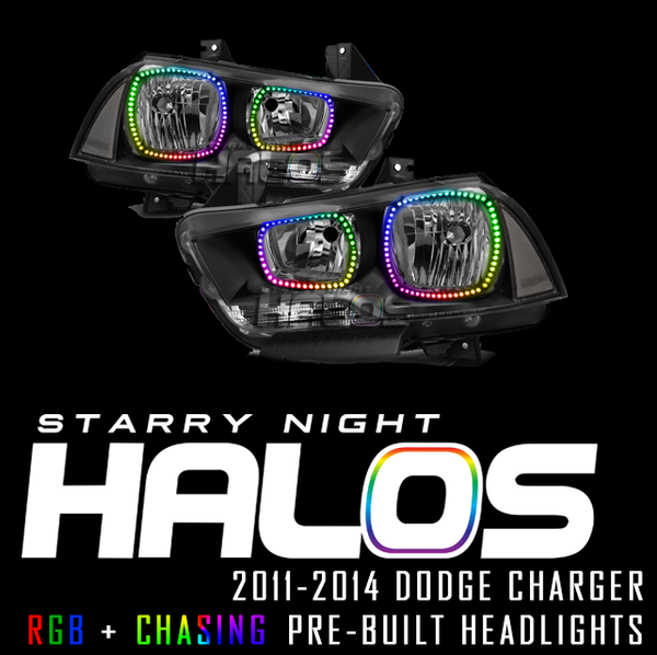 2011-2014 Dodge Charger Starry Night Halos RGB+Chasing Pre-Built Headlights