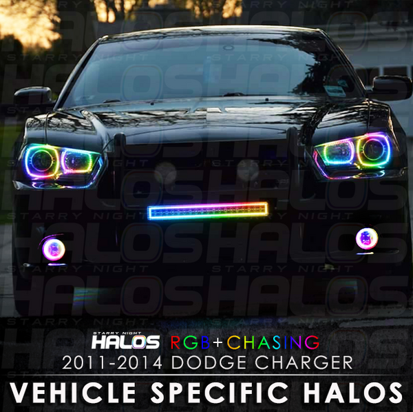 2011-2014 Dodge Charger RGB + Chasing Starry Night Halo Kit (4 Halos)