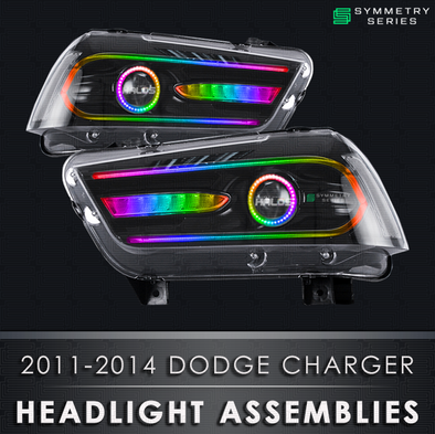 2011-2014 Dodge Charger Starry Night Halos Chasing Pre-Built Headlights