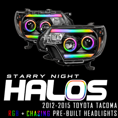 2012-2015 Toyota Tacoma Starry Night Halos RGB+Chasing Pre-Built Headlights