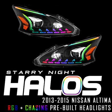 2013-2015 Nissan Altima Starry Night Halos Pre-Built Headlights