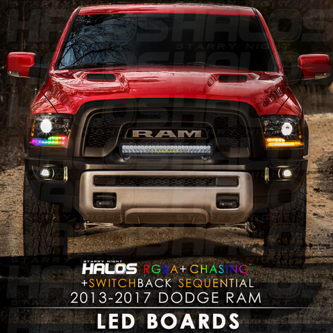 2013-2017 Dodge Ram RGBA + Chasing + Switchback Sequential Starry Night Halos LED Boards