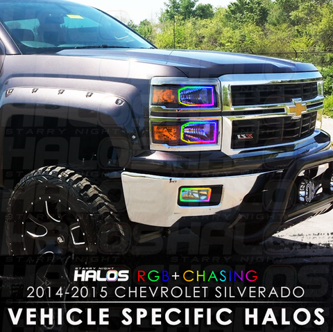 2014-2015 Chevrolet Silverado Non Projector RGB + Chasing Starry Night Halo Kit (4 Halos)