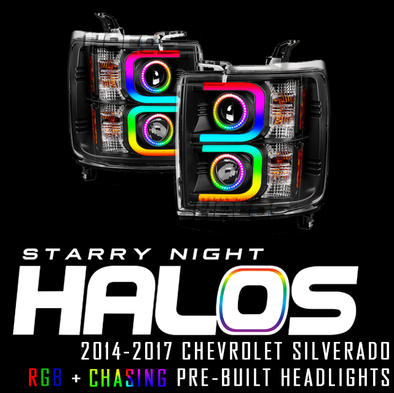 2014-2017 Chevrolet Silverado Starry Night Halos RGB+Chasing Pre-Built Headlights