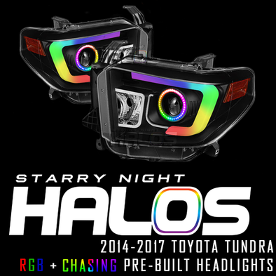 2014-2017 Toyota Tundra Starry Night Halos RGB+Chasing Pre-Built Headlights