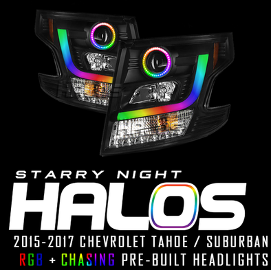 2015-2017 Chevrolet Tahoe and Suburban Starry Night Halos RGB+Chasing Pre-Built Headlights