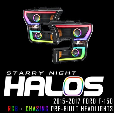2015-2017 Ford F-150 Starry Night Halos RGB+Chasing Pre-Built Headlights