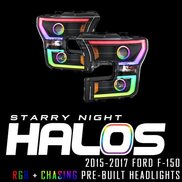 2015 2017 Ford F 150 Starry Night Halos Rgbchasing Pre Built Headlights