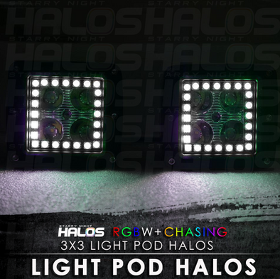 3x3 Starry Night RGBW Chasing LED Light Pod Halos