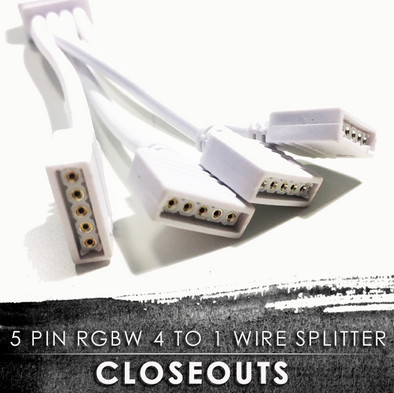 5 Pin RGBW 4 to 1 Wire Splitter