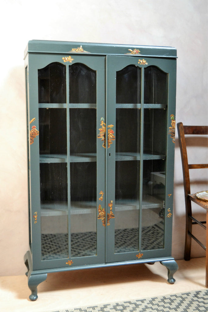 Sold Art Deco Chinoiserie Display Cabinet Vintage Reclamation