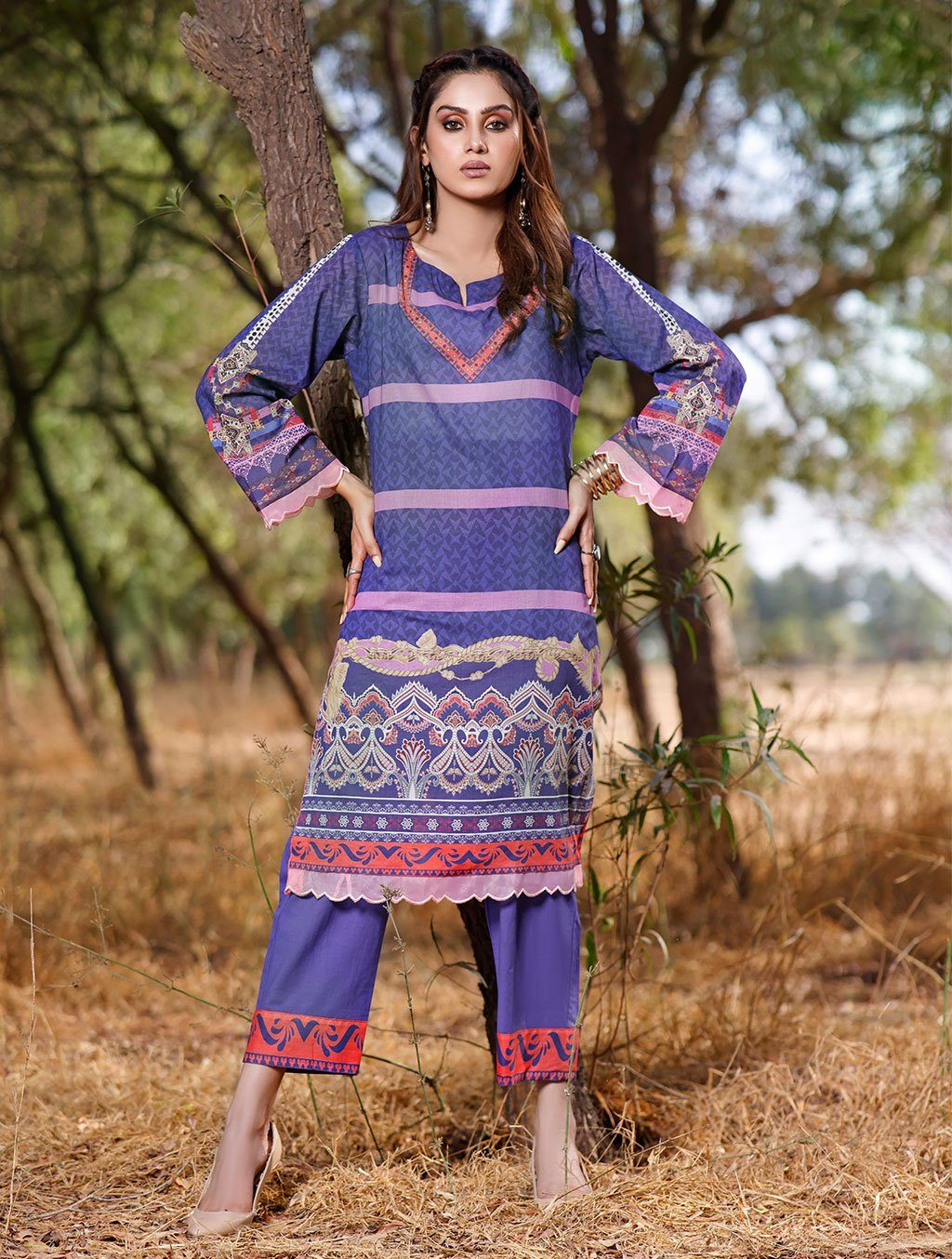 2 Piece Unstitched Printed Lawn Shirt with Dyed Trouser RKL-1096 Khas Lawn 2021 - Volume 2 FASUNSLAD