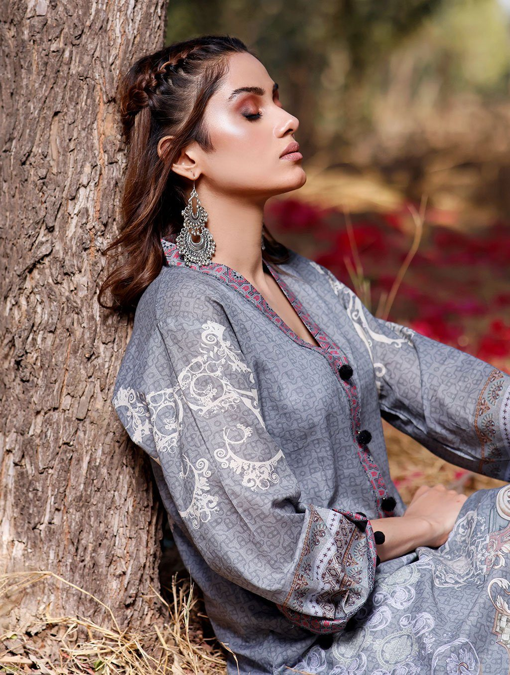 2 Piece Unstitched Printed Lawn Shirt with Dyed Trouser RKL-1098 Khas Lawn 2021 - Volume 2 FASUNSLAD