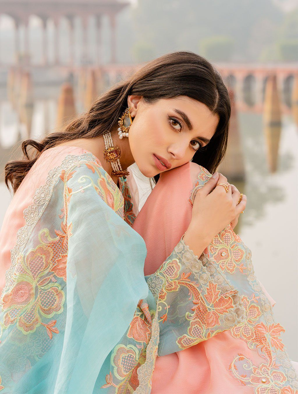 3 Piece Unstitched Embroidered Chiffon Suit KNAC-1119 Chiffon Collection 2021-Volume 1 FASUNSLAD