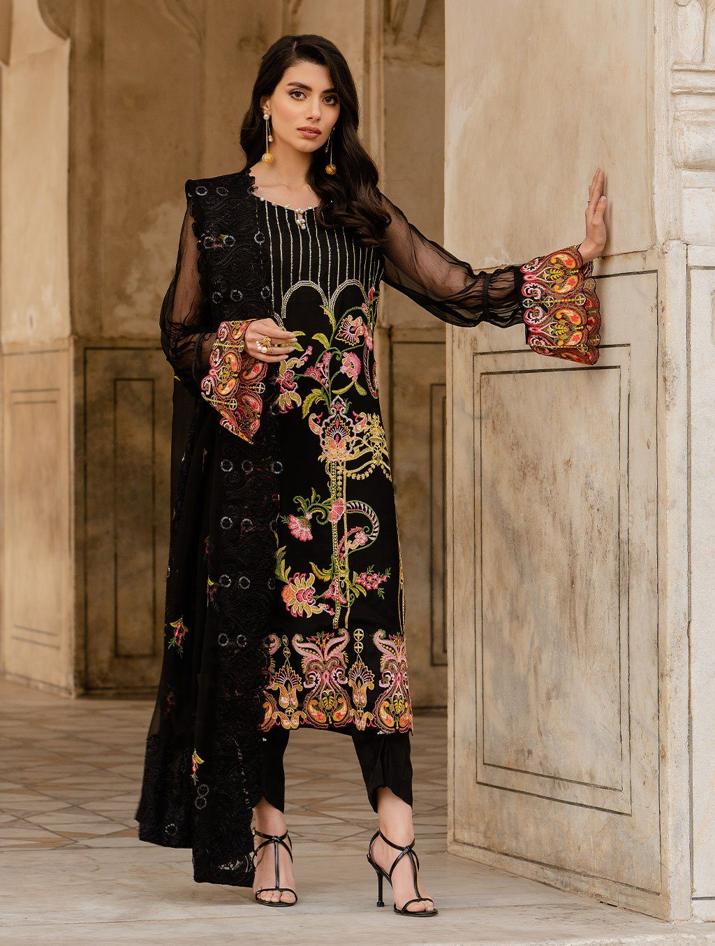 3 Piece Unstitched Embroidered Chiffon Suit KNAC-1124 Chiffon Collection 2021-Volume 1 FASUNSLAD