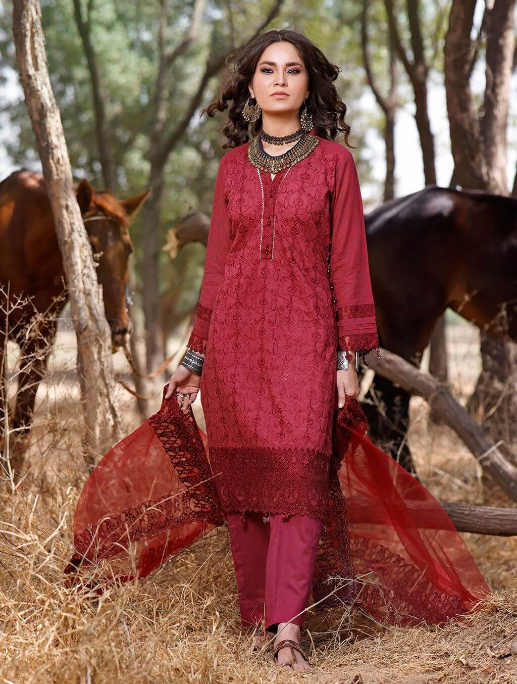 3 Piece Unstitched Embroidered Lawn Suit with Chiffon Dupatta KNE-7020 Khas Lawn 2021 - Volume 2 FASUNSLAD