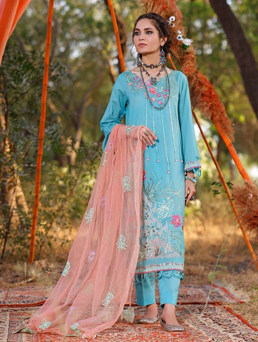 3 Piece Unstitched Embroidered Lawn Suit with Net Dupatta KNE-7017 Khas Lawn 2021 - Volume 2 FASUNSLAD