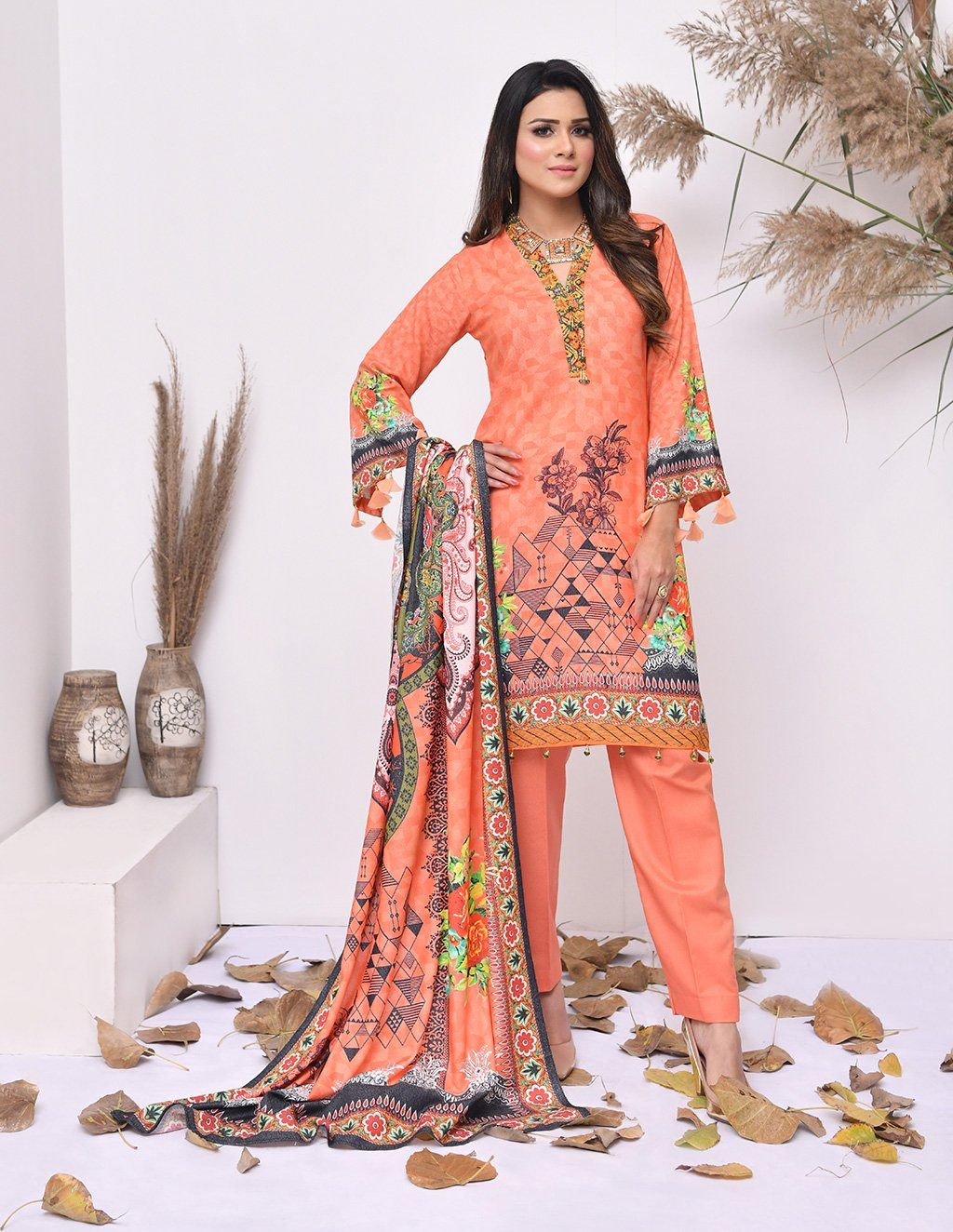 3 Piece Unstitched Printed Karandi Suit KRK-038 Winter Collection 2020-Vol 4 Khas Stores