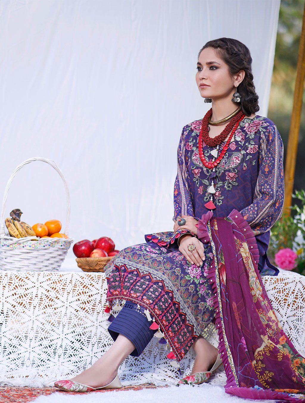 3 Piece Unstitched Printed Lawn Suit with Chiffon Dupatta KCE-6040 Khas Lawn 2021 - Volume 2 FASUNSLAD