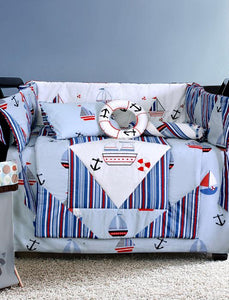 BABY COT SET STRIPED SAIL BOAT Cot Sets HOMBEDLIT