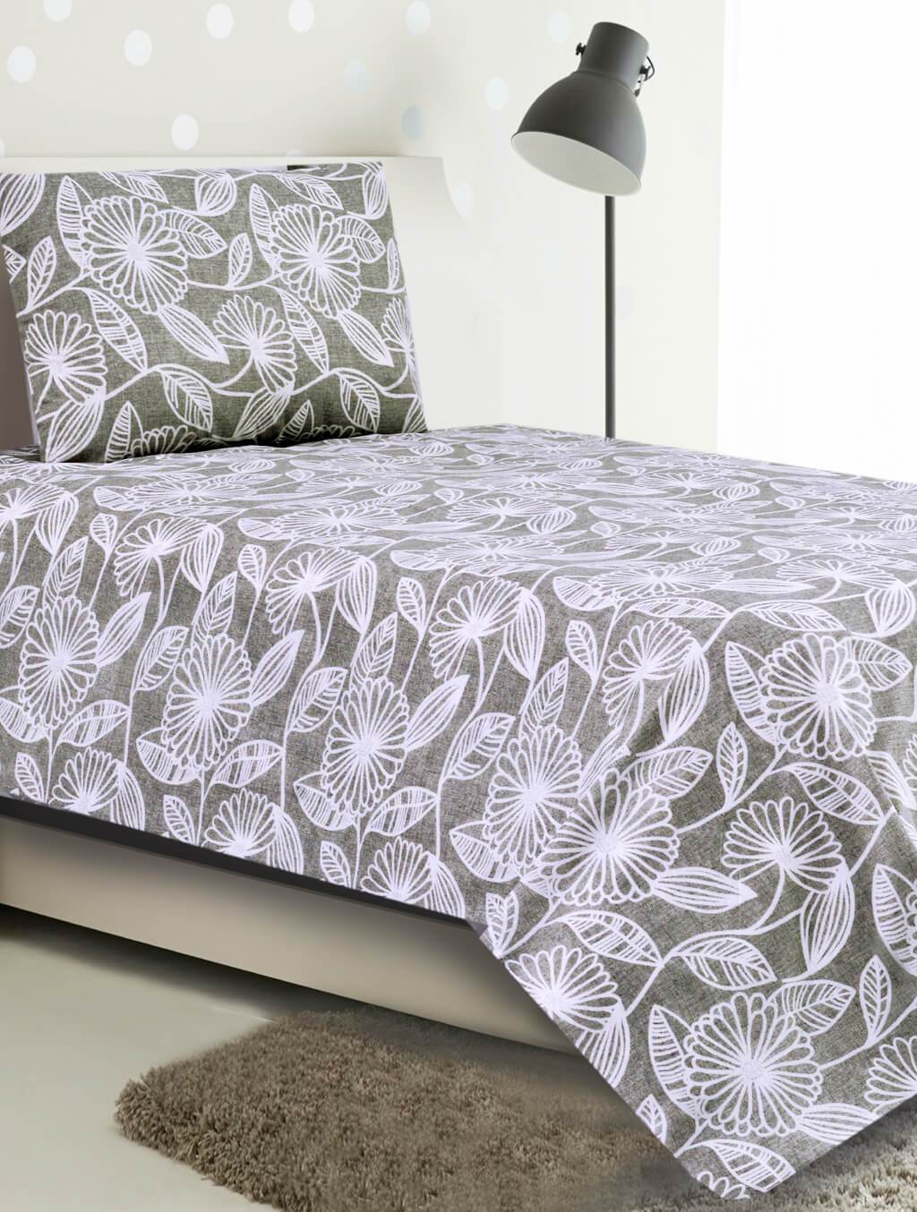 BED SHEET R2G 16220 SINGLE Printed Range 144 TC HOMBEDROO