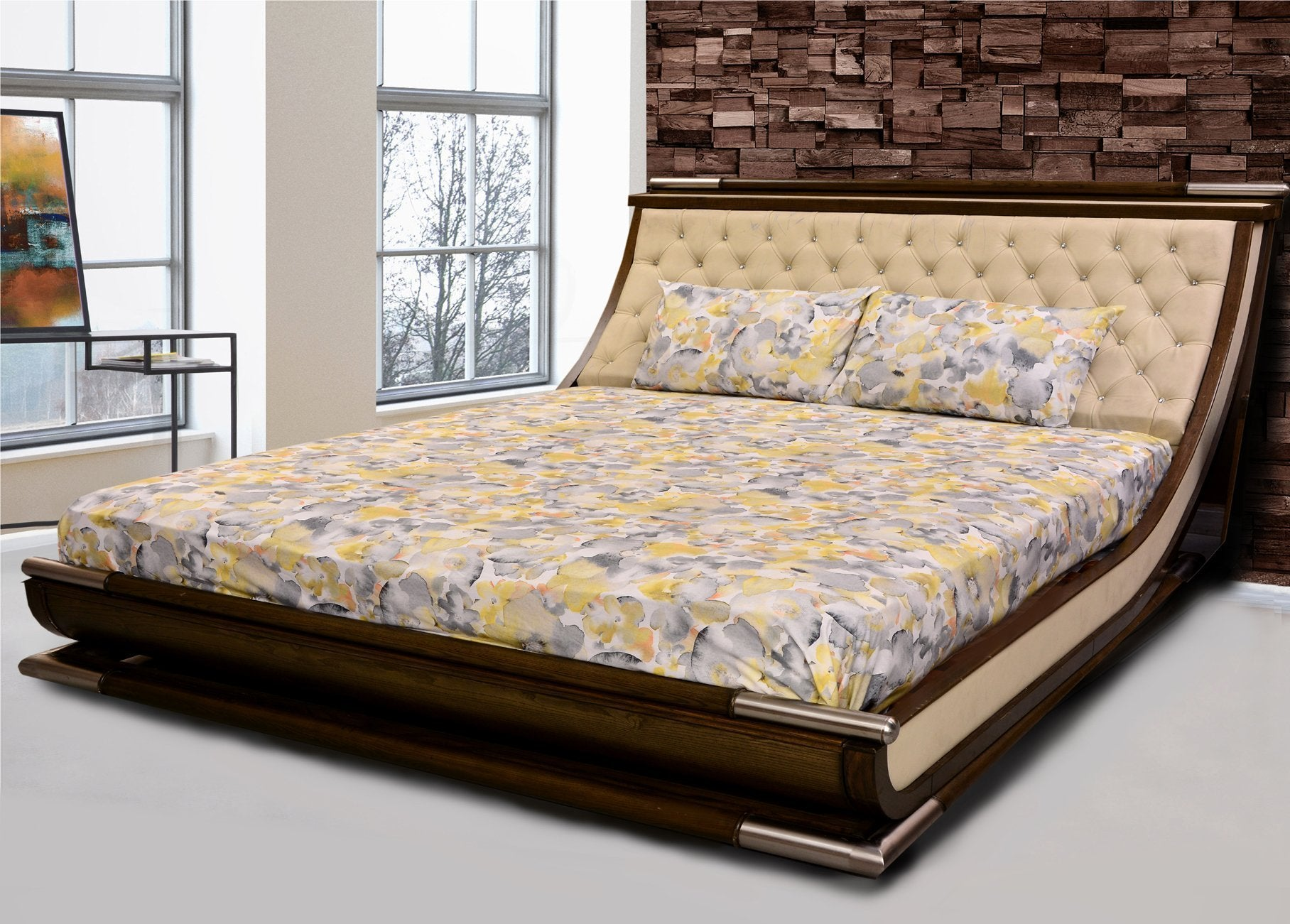 FLORA HUES Printed Range 210 TC HOMBEDPIE BED SHEET KING