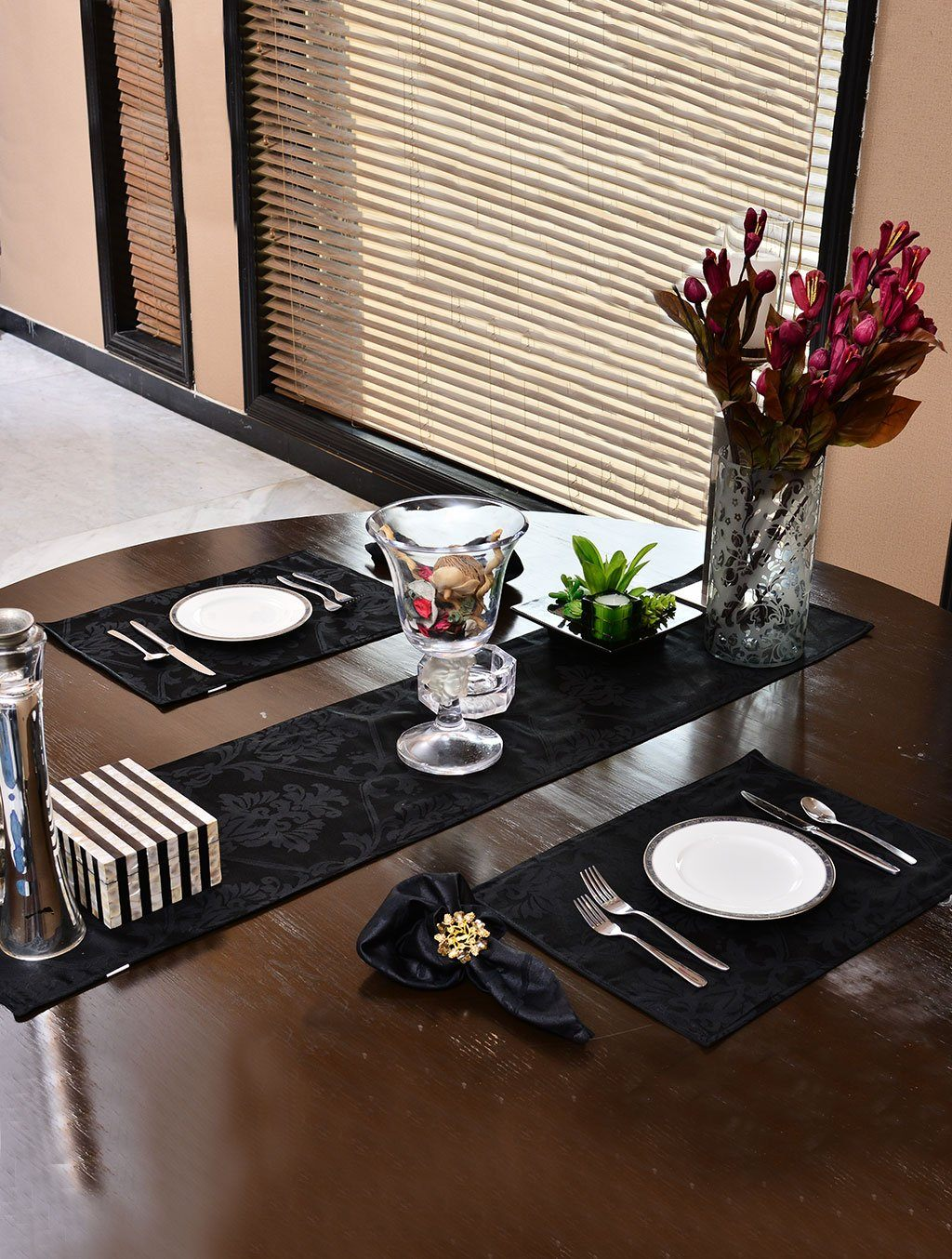 Kitchen Linen Jacquard Black Kitchen Accessories HOMKITLIN Table Runner