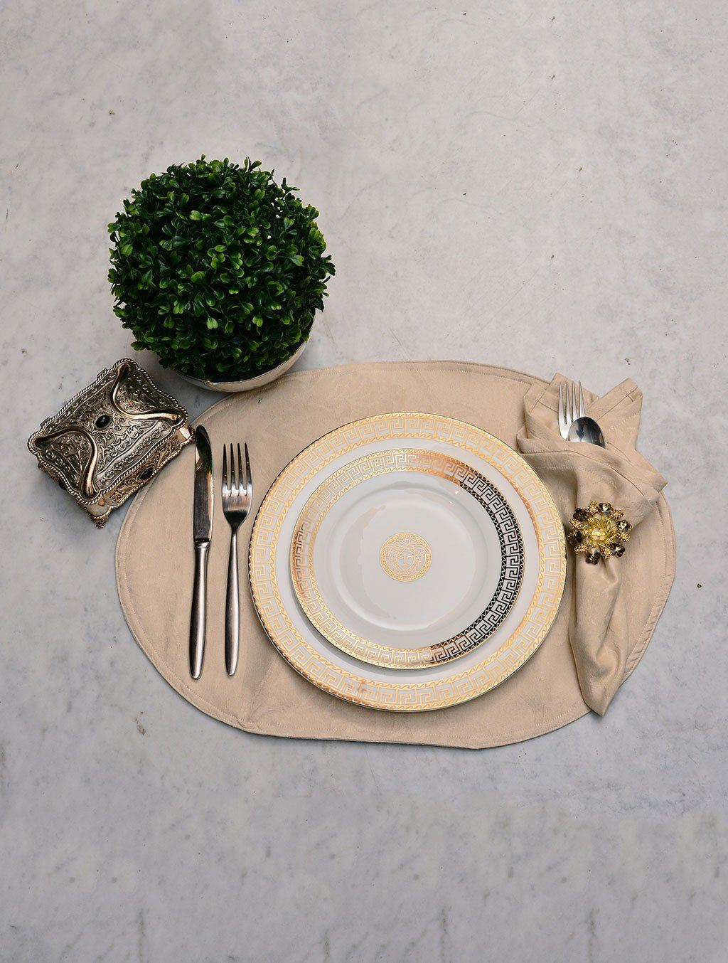 Kitchen Linen Jacquard Cream Kitchen Accessories HOMKITLIN Place Mat