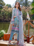 3 Piece Unstitched Embroidered Lawn Suit with Organza Dupatta KOE-1037